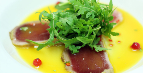 Carpaccio of Tuna with Passion Fruit Sauce