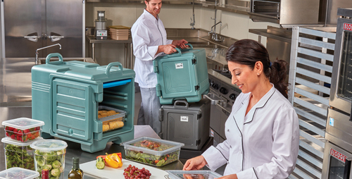 Cambro's new front loading food transport box