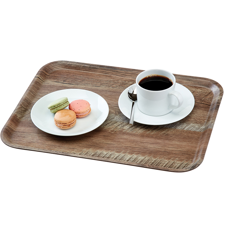 Dark Oak Madeira Laminated Tray with Textured Surface