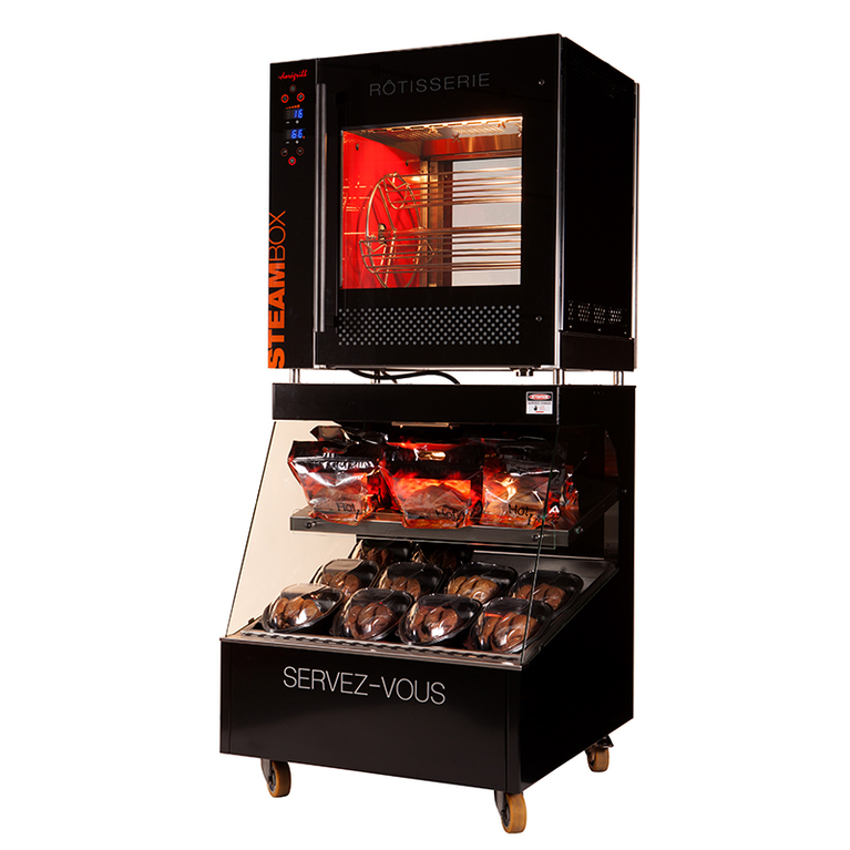 NEOBOX Electric Basket Rotisserie and Heated Display Case