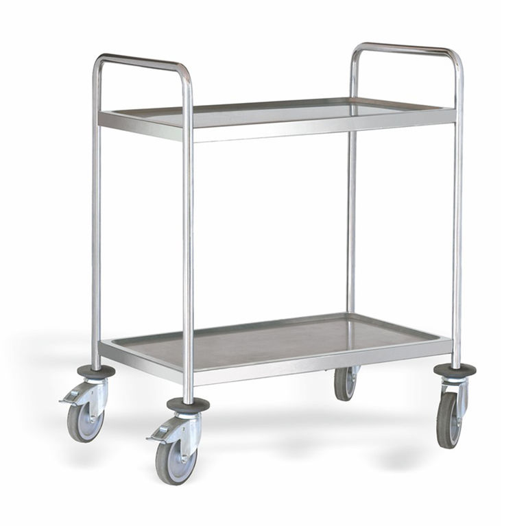 2 Shelf Stainless Steel Serving Trolley